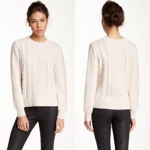 Joie merino wool fisherman knit pullover sweater